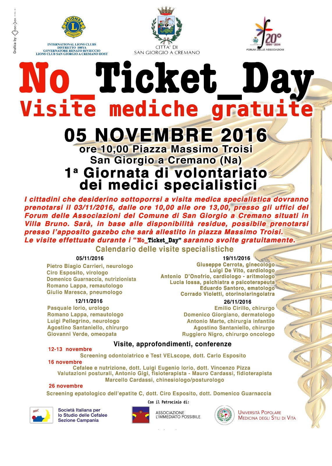 No Ticket Day. Visite mediche specialistiche gratuite dal 5 al 26 novembre