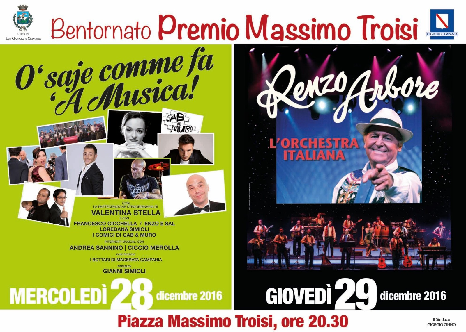 Renzo Arbore ricorda Massimo. Tanti artisti in piazza il 28 e 29 dicembre per l'anteprima del Premio...
