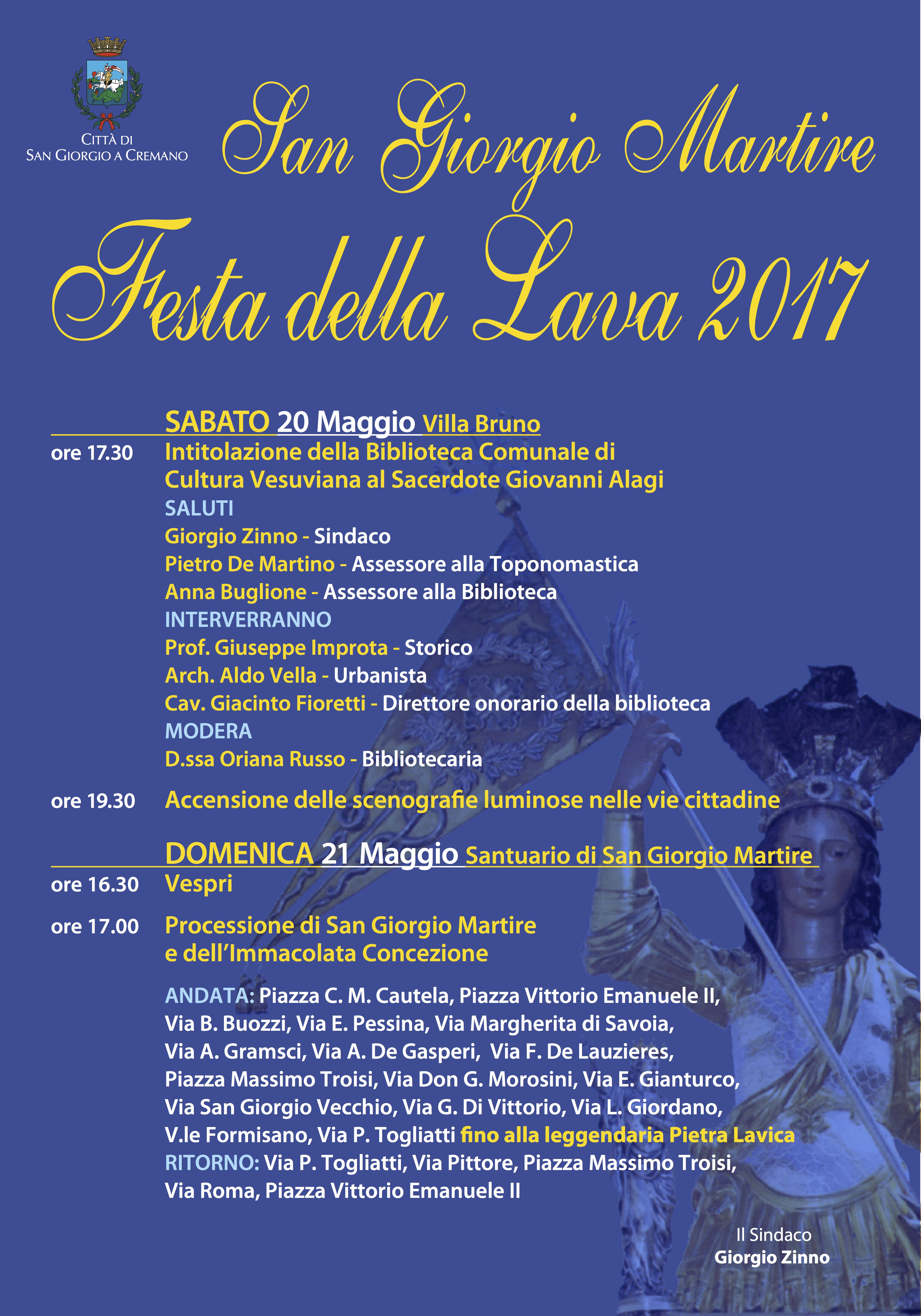 Festa della Lava doppio evento sabato e domenica con la intitolazione della biblioteca a Padre Alagi