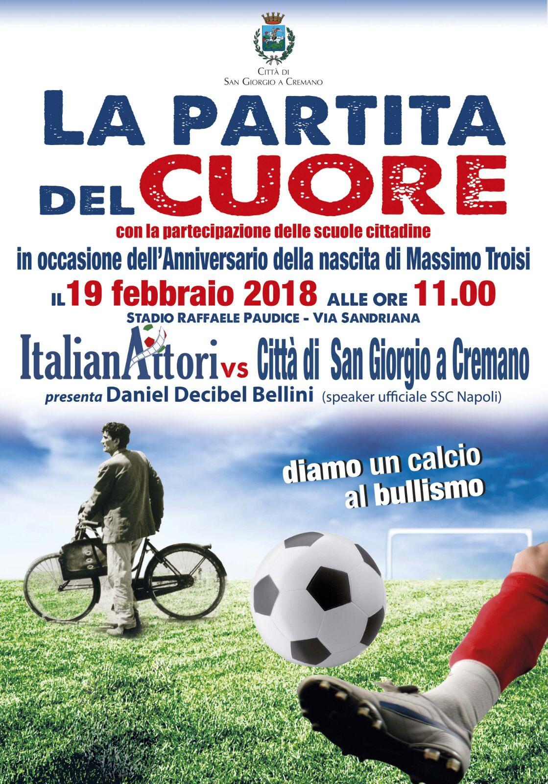 Buon compleanno Massimo Il 19 febbraio la Squadra ItalianAttori in campo per la Partita del Cuore